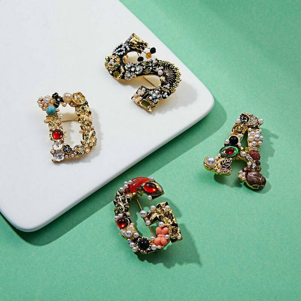 Lance Luxury Pearl Crystal Letter Brooch Pin Colorful Women Wedding Bride Jewelry Gift