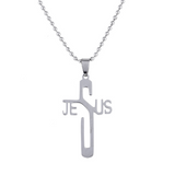 Lance Faith Fashion Cross JESUS ​​Jesus Edelstahl Halskette