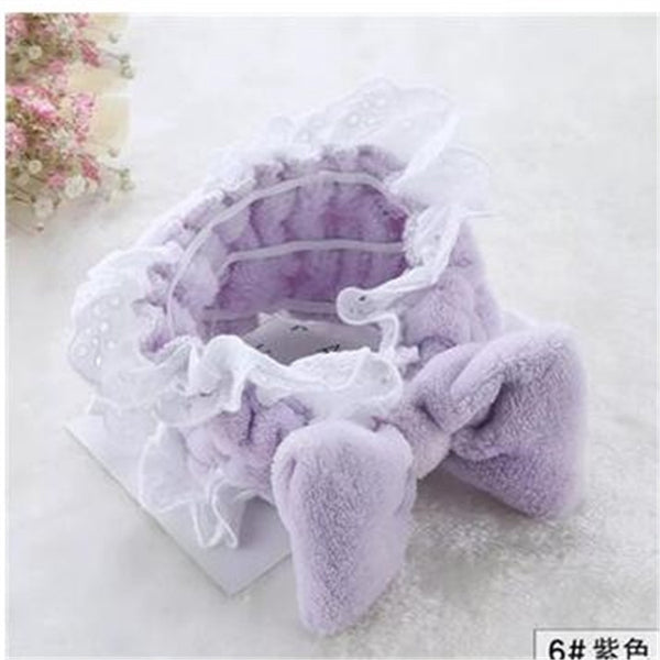 Lance Europe And America Lovely Bow Knot Hair Band Lace High Elastic Wash Face Makeup Hair Band