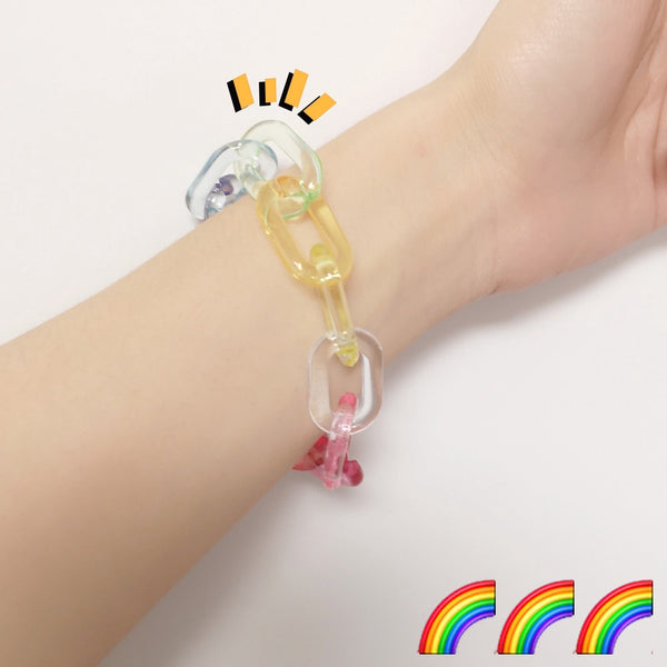 Lance Rainbow Bracelet Acrylic Transparent Solid Color Earth Cool Girl Couple Girlfriends Gift Bracelet Accessories
