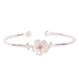 Lance Cherry Blossom Bracelet  Pink Diamond Insert Open Bangle