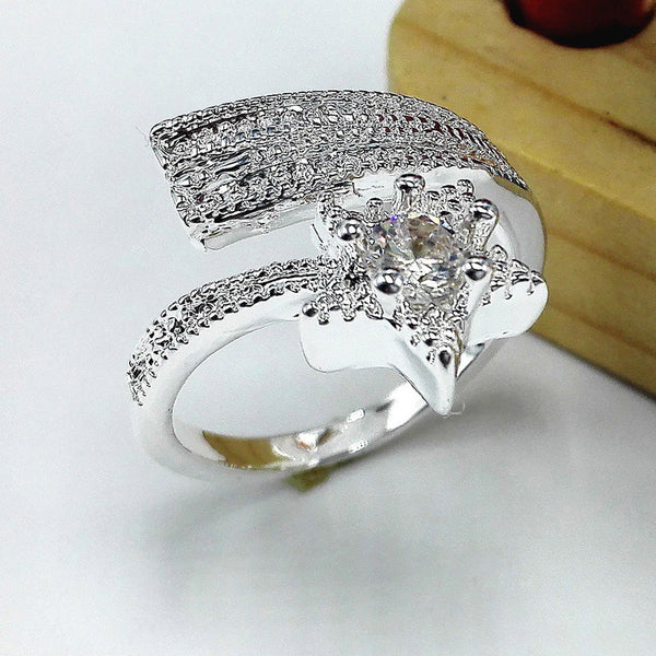 Lance Europe Diamond Ring 925 Silver Pentacle Star Silver Adjustable Opening Rings