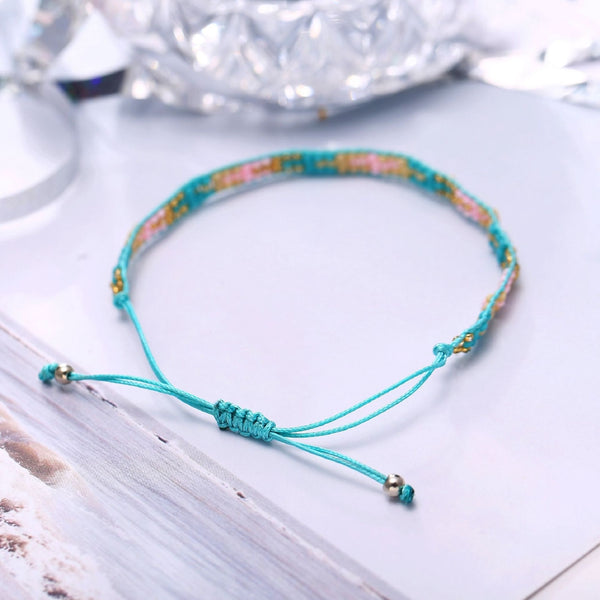 Lance Europe and The United States New Hand-woven Beaded Bracelet Creative Green Bead Push-pull Bracelet