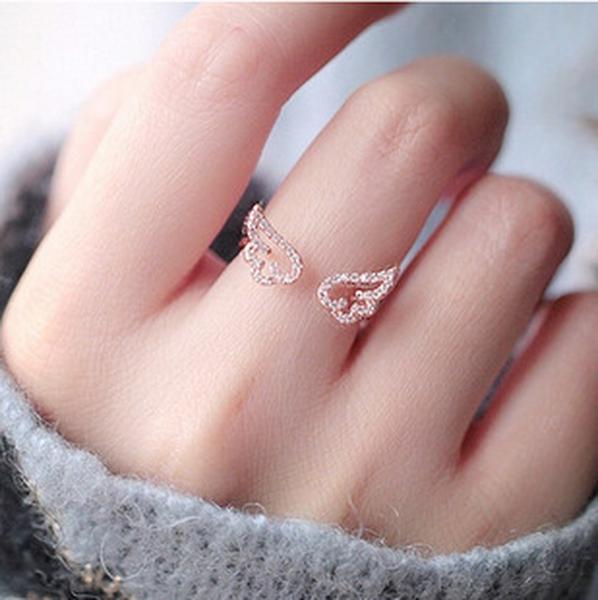 LANCE Fashion jewelry cute micro-inlaid zircon angel wing open ring