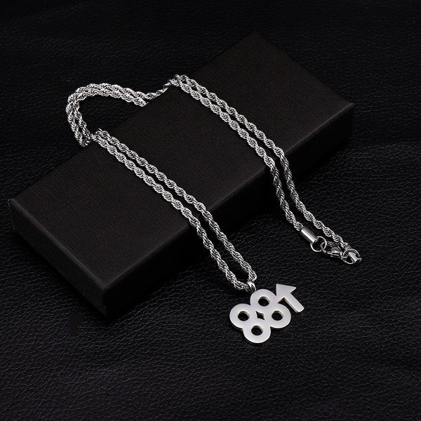 Lance With 88 Rising Up Necklace Europe And The United States Hip-hop Hiphop Pendant Titanium Steel Necklaces Male