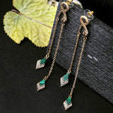 Lance Women Elegant Fashion Earrings Stud Green Crystal Retro Snake Long Dangle