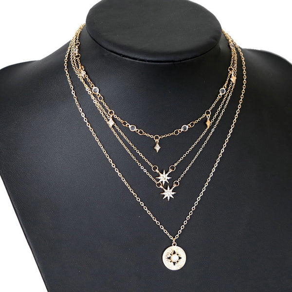 Lance Elegant Women Full Diamond Star Starlight Multi-layer Necklace Jewelry