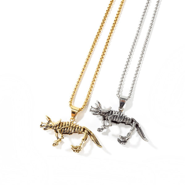 Lance Europe And America Retro Dinosaur Skeleton Pendant   Personality Domineering Men's Titanium Steel Unicorn Necklace
