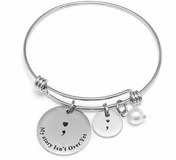 Lance My Story Isn't Over Yet Adjustable Bangle Bracelet Stainless Steel Charms New