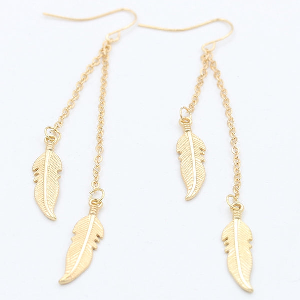 Lance New Leaves Earrings Europe and America Tassel Chain Feather Earring Fashionable Lady Earrings