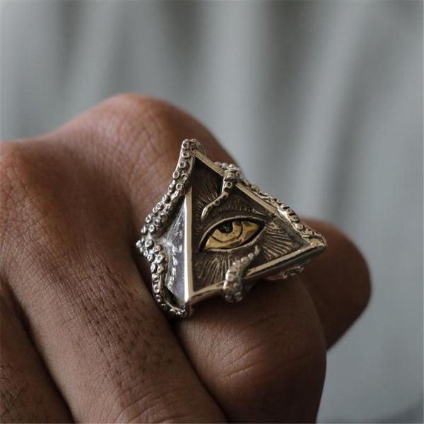 Lance Hot Jewelry Men Octopus Eyeing  Personality Ring Triangle Hip Hop Punk Ring