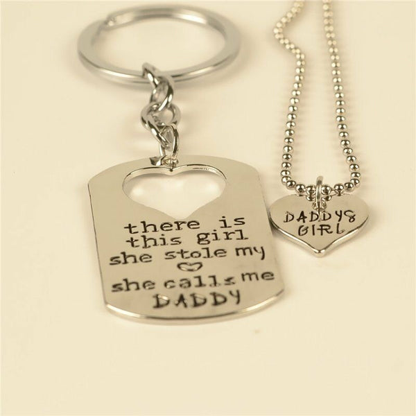 Lance Silver Color Twin Keychain & Necklace Daddy Daughter Dad Father Men Girls Gifts