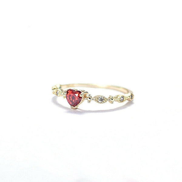 Lance14K Gold Heart-shaped Ruby Diamond Ring Exquisite Women's Fashion Ring
