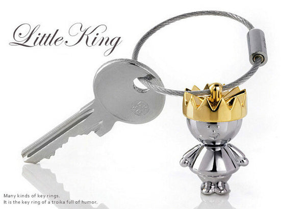 Lance King and Queen Couple Metal Wire Rings Key Chain