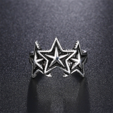 Lance Simple Three Stars Cluster shaped Silver Open Ring Wholesale