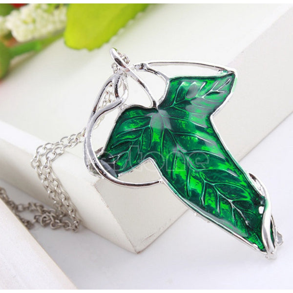 Lance Vintage Lord of The Rings Green Leaf Elven Pin Brooch Pendant Chain Necklace