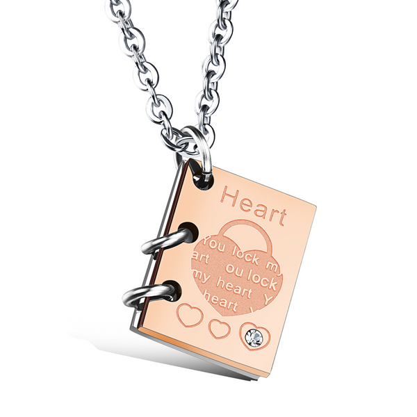 Lance Valentine's Day Gift Love Story Book Titanium Steel Couple Necklace