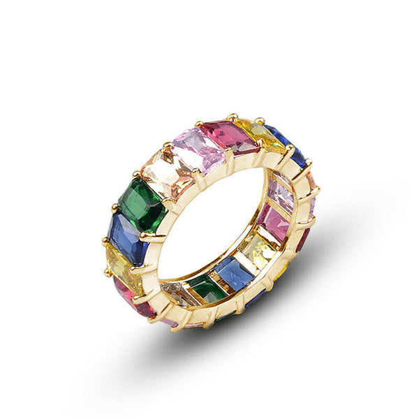 Lance Women Yellow Gold Filled Around Rainbow Crystal Silver Band Couple Ring Size 6-9