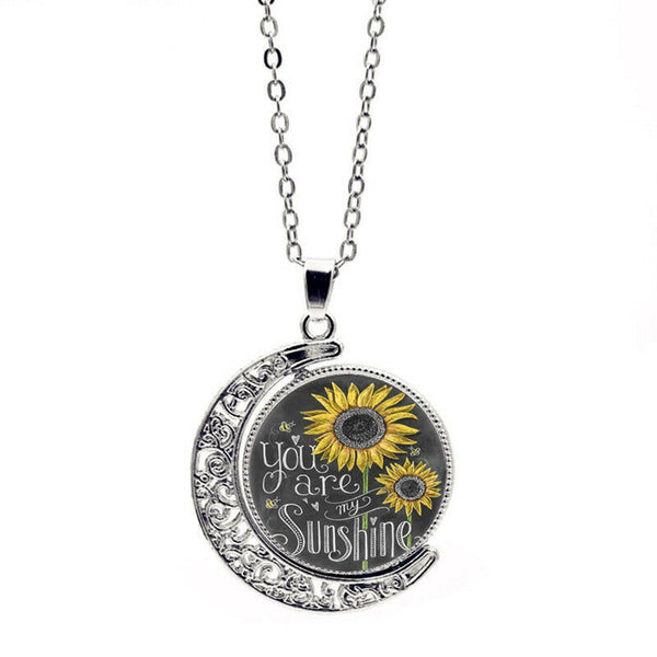 "Lance ""you are my Sunshine"" Letter Print Moon Pendant Sunflower Necklace for Women"