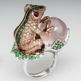 Lance Frog Peach Green&White Topaz 925 Silver Jewelry Wedding Engagement Ring Size 5-10