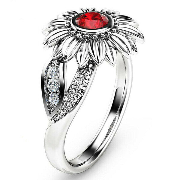 Lance Charm Jewelry Ladies' Rhinestone Accessory Sunflower Party Rings US