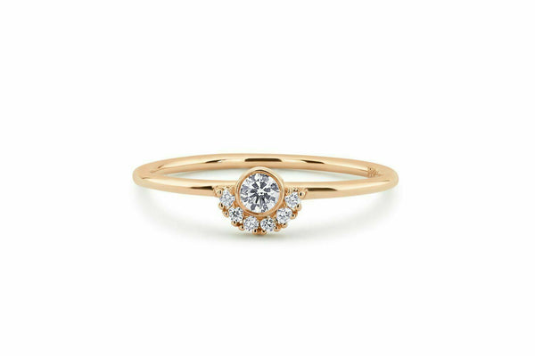 Lance Minimalist Gold Wedding Jewelry White Sapphire CZ Stackable Crown Eternity Ring