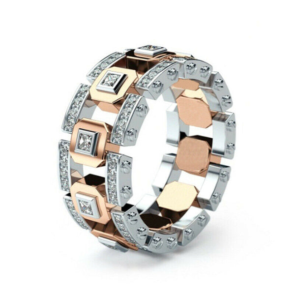 Lance Men Modern Fashion 925 Silver Ring 14k Rose Gold Full Diamond Engagement Ring