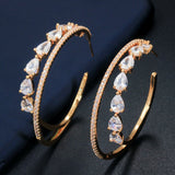 Lance Glittering 18k Gold Cubic Zircon Big Double Circle Round Hoop Earrings for Women