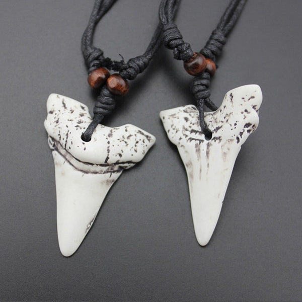 Lance Mens Shark Tooth Teeth Pendant Necklace Charm Wax Cord Rope String Chain Jewelry