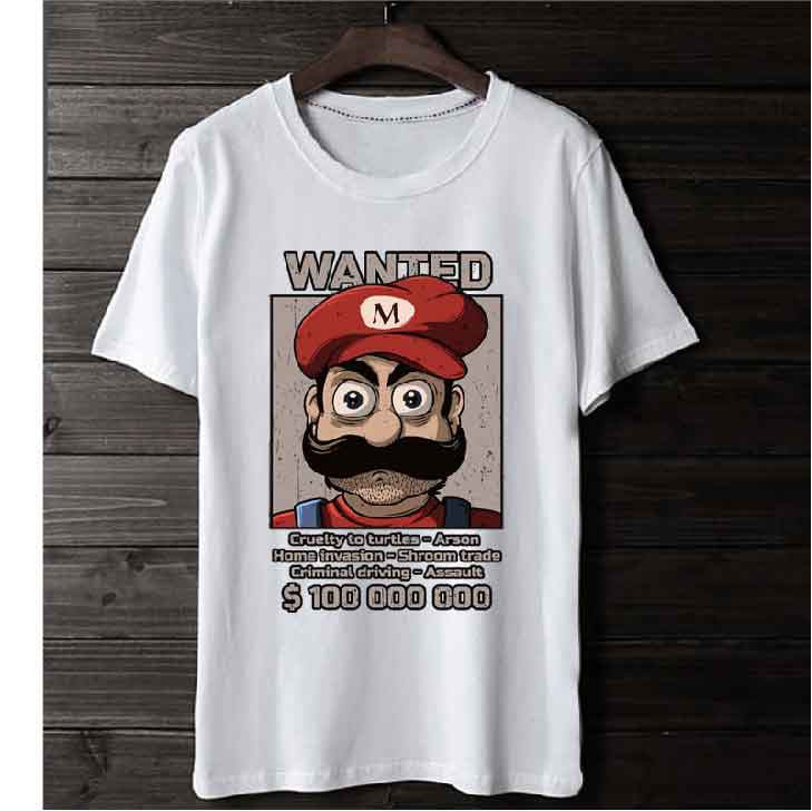 T-Shirt Mario Wanted Retropixl Retrogaming retro gaming Rare Console Collector Limited Edition Japan Import