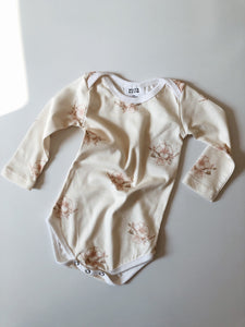 Long Sleeve Envelope Onesie - Hibiscus