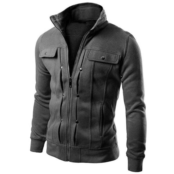 Multi Button Hoodies Men Fashion Tracksuit Male Sweatshirt
