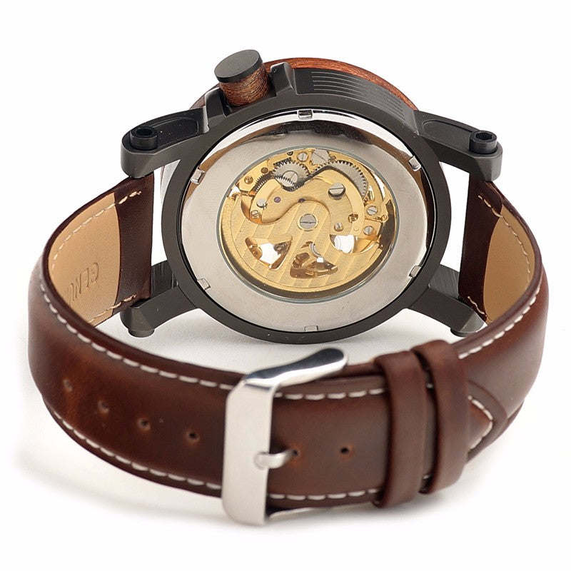 Red Sandalwood&Steel Exposed Mechanical Watch Vintage Bronze Skeleton Clock Male