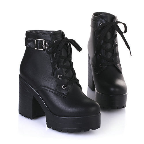 Lace-Up Sexy Women Boots Fashion Platform punk high square heels