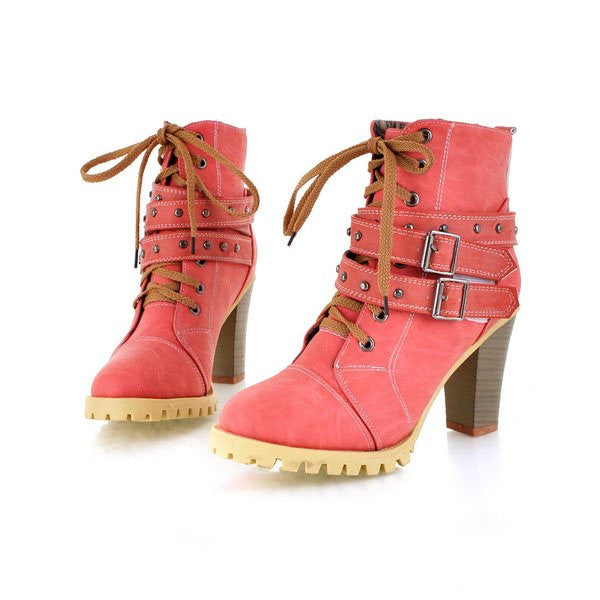 Fashion Women Boots Style Lace Up High Heels Boots Waterproof Ankle Boots