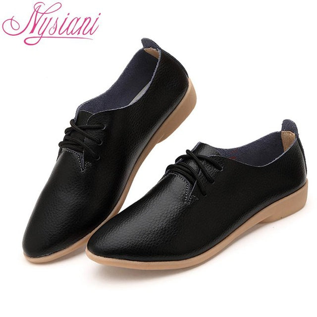 Split Leather Oxford Shoes For Women Pointed Toe Casual