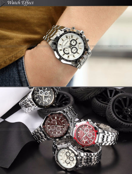 Brand Fashion Men's Full stainless steel Military Casual Sport waterproof