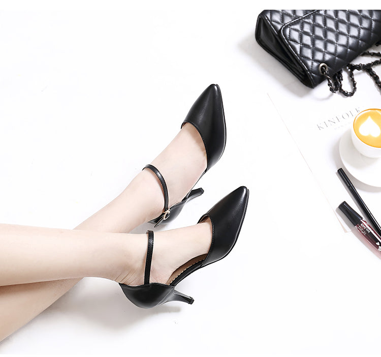 Spring Summer Basic Women Pumps Shoes Shallow Buckle Strap Thin Heels P