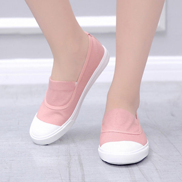 summer new canvas student flat comfortable white shoes women basic casual