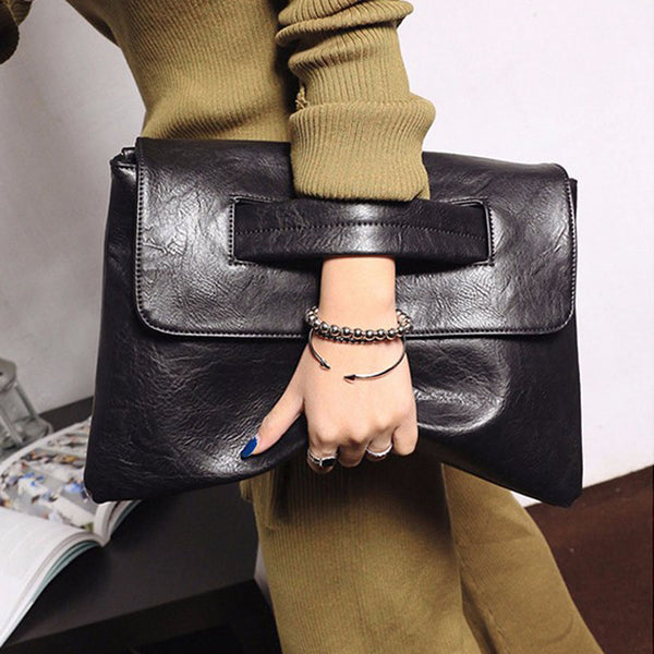 Solid Women's Envelope Clutch Bag Leather
