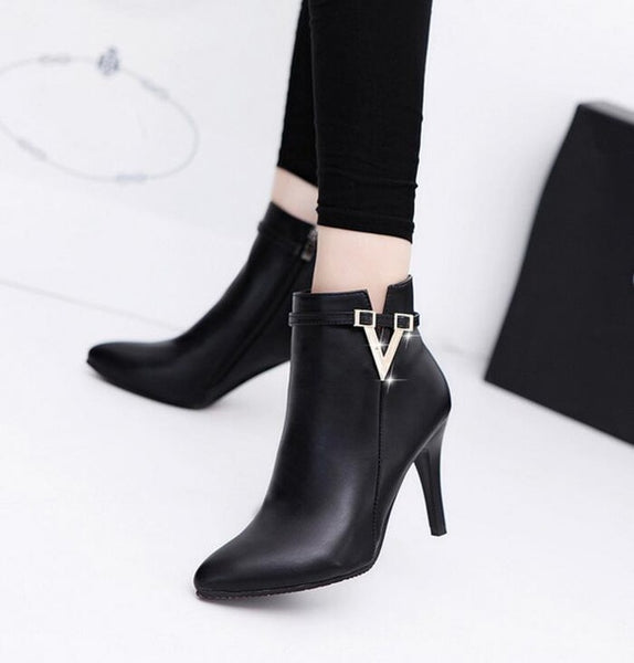 Thin High Heels Pointed Toe Style Sexy Ankle Womens Boots