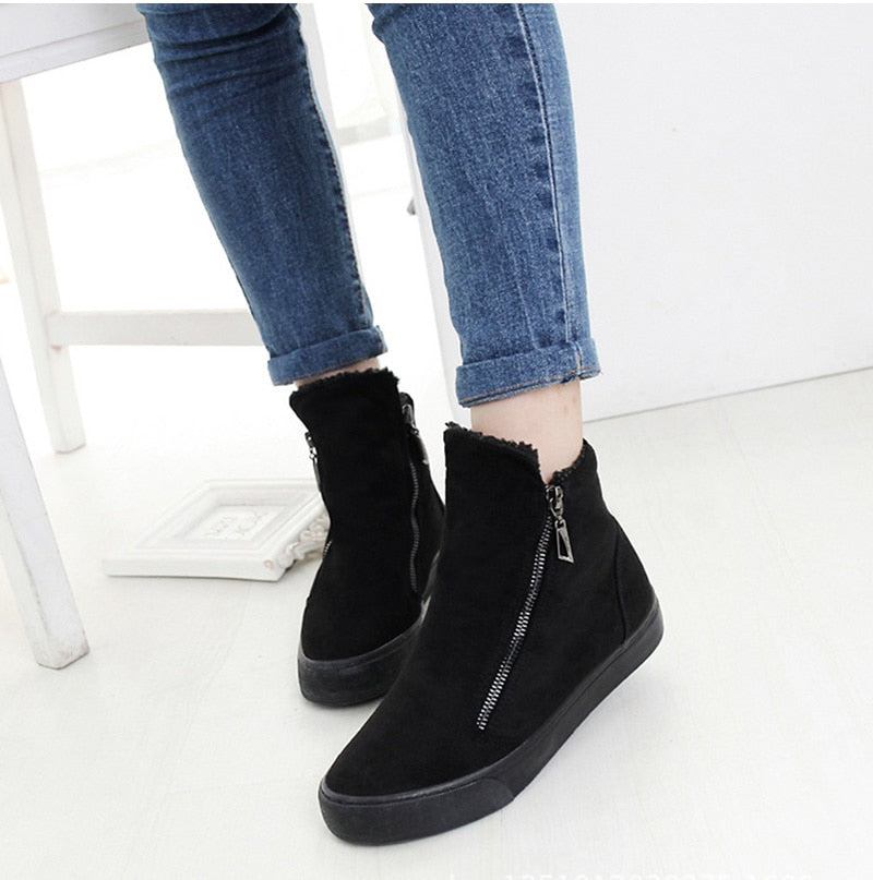 Women's Winter Ankle Boots Female Zipper Flock Platform Snow