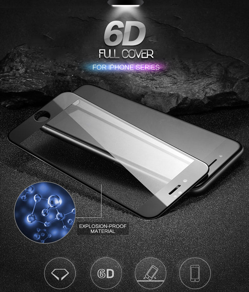 6D Screen Protector Full Cover Curved Tempered Glass For iPhone 7 8 6 6s Plus