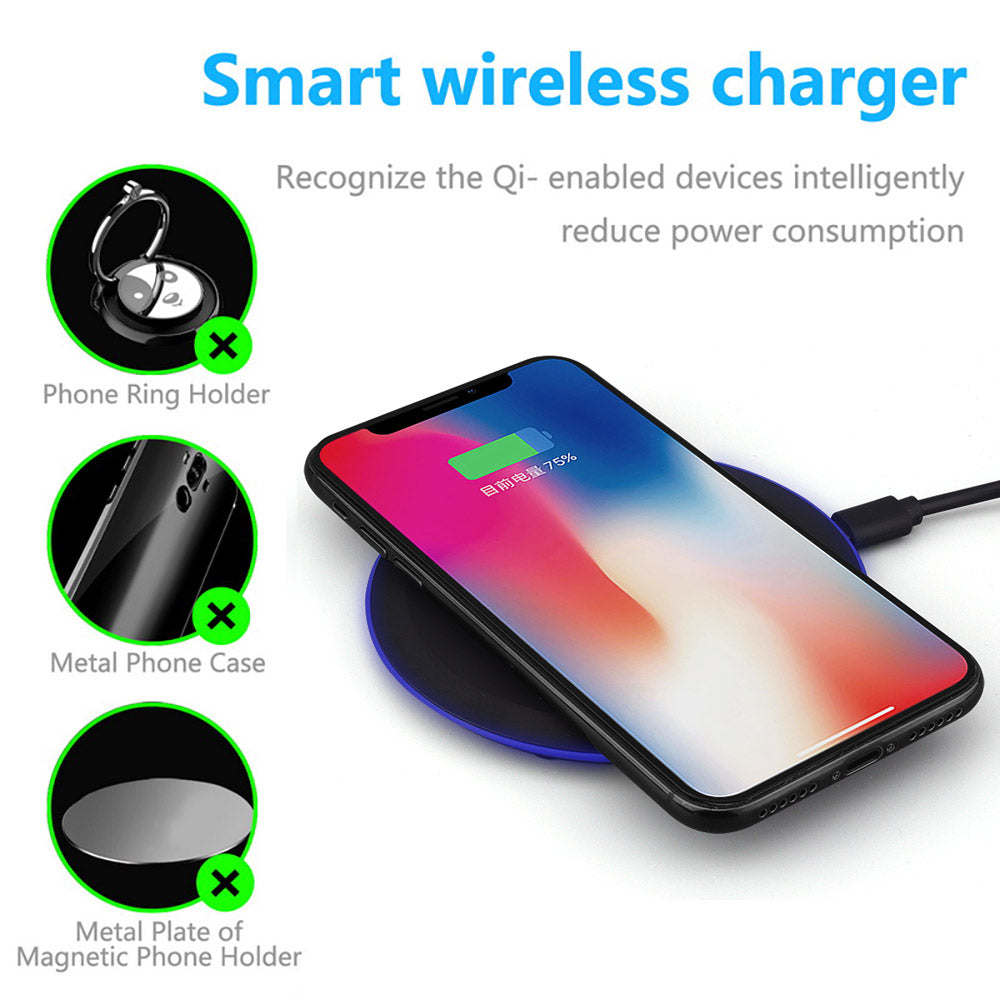 QI Wireless Charger Ultra Thin Desktop Mini for iPhone Plus Samsung Note 9 S9 S8 Xiaomi