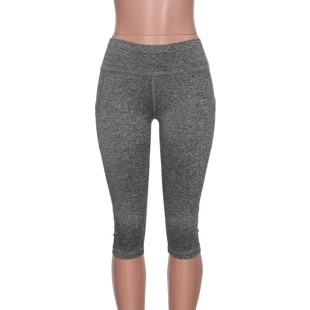 Yoga Pants women Calf-length Capri Pant Sport leggings Women Fitness Black