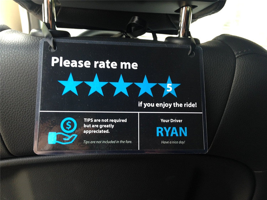 WildAuto - Uber Lyft Tip and 5 Stars Rating Sign - Removable Rideshare  Decal - For Rideshare Drivers