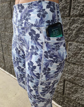 Blue Hibiscus 3/4  Active Leggings. XS to 3XL