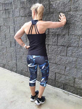 Blue Laser 3/4  Active Leggings. XS to 3XL