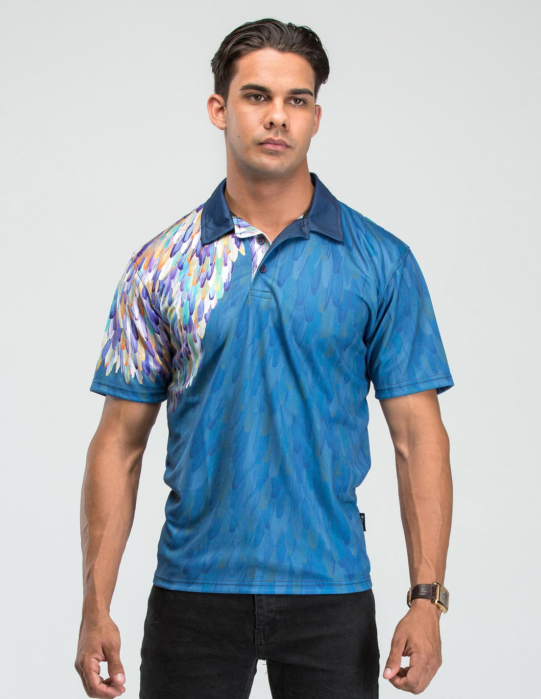 EMU DREAMING - BLUE Polo. Australian Aboriginal wearable art