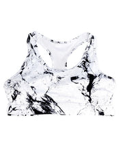 Bamboo Sporty Racer Back Crop. White Marble Print